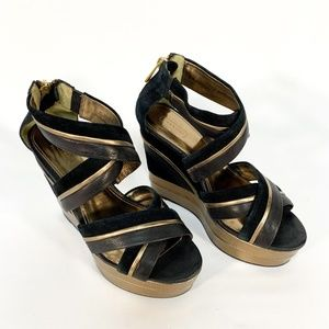 COACH Black Leather Strappy Platform Wedge Gold